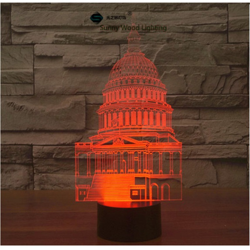 White House touch switch LED 3D lamp ,Visual Illusion 7color changing 5V USB for laptop, desk decoration toy lamp(China (Mainland))