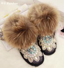 2016 mujeres de Moda de Invierno Botas de Cuero Genuino de Diamantes Hechos A Mano Bling de Las Mujeres de Piel de Zorro Botas de Nieve Caliente Zapatos(China (Mainland))