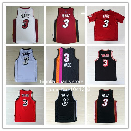 Free shipping Heat Wade # 3 and other new fabric mesh embroidery, 6 color shirt for your choice, Wade jerseys worth having(China (Mainland))