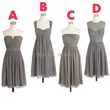 Inexpensive Different Styles Junior Cute Chiffon Mismatch Grey Gray Short Bridesmaid Dresses 2015 For Party Dresses