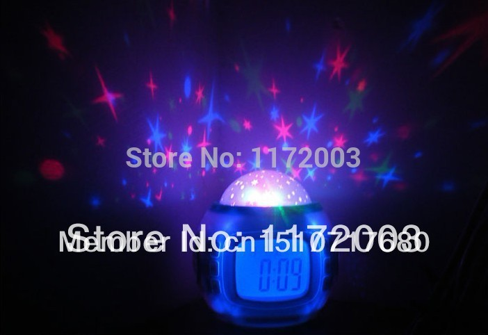 2014 factory price Music Starry Star Sky Projection Alarm / Star projecting alarm clock(China (Mainland))