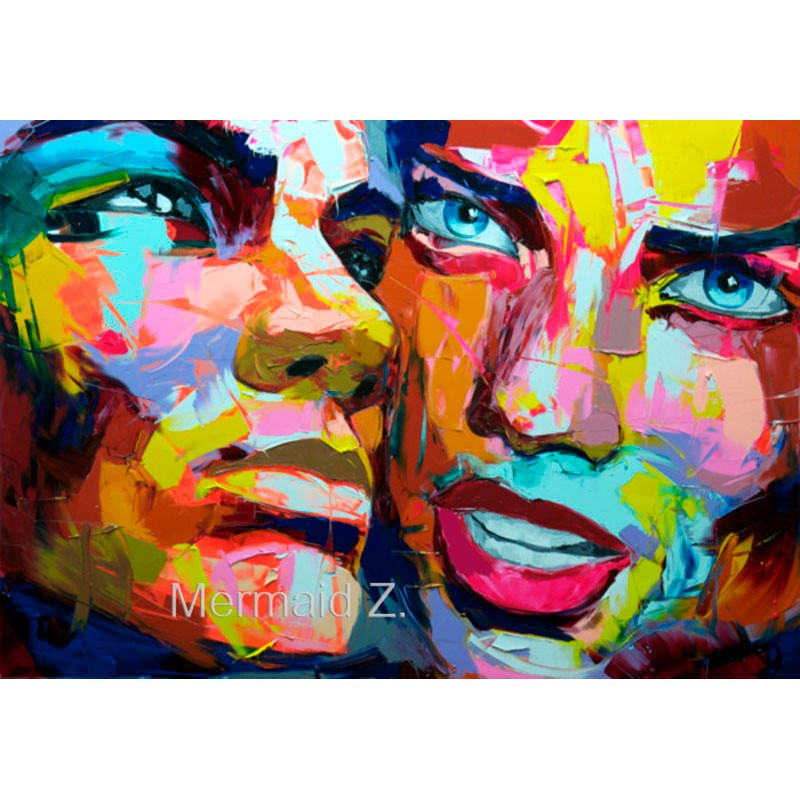 Buy High quality Hand-painted Francoise Nielly cool face palette knife painting portrait abstract impasto oil painting on canvas cheap