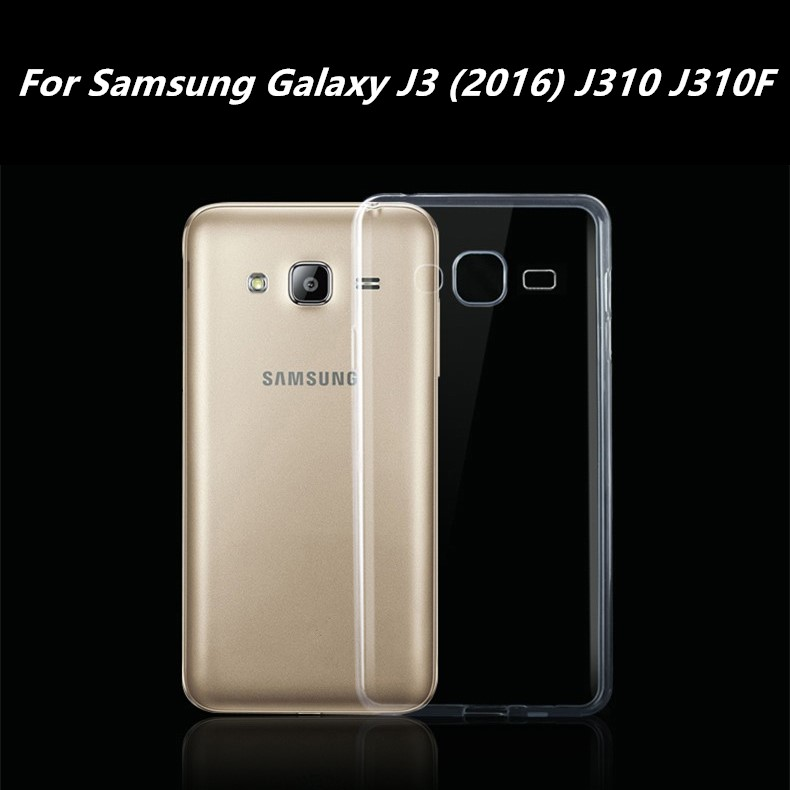 For Samsung Galaxy J3 (2016) J310 J310F Clear Silicone Rubber Cover 2016 New For Samsung J3 Case Transparent Soft TPU Gel Case(China (Mainland))