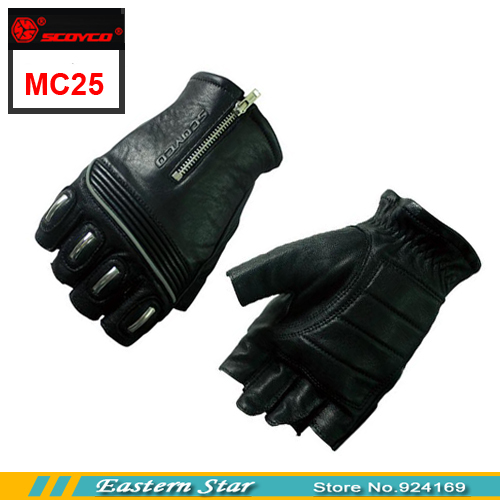New Fashion SCOYCO MC25 Design Motorcycle Glove Mitts Button Unisex Half Finger Leather Car Mitten(China (Mainland))