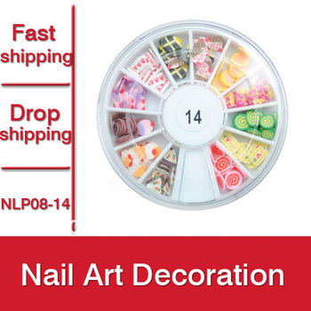 Free Shipping 1set 12 mixed Color Design Nail Art Decoration 3D Cute Cake Slices Polymer Clay DIY Nail Sticker  -- NLP08-14