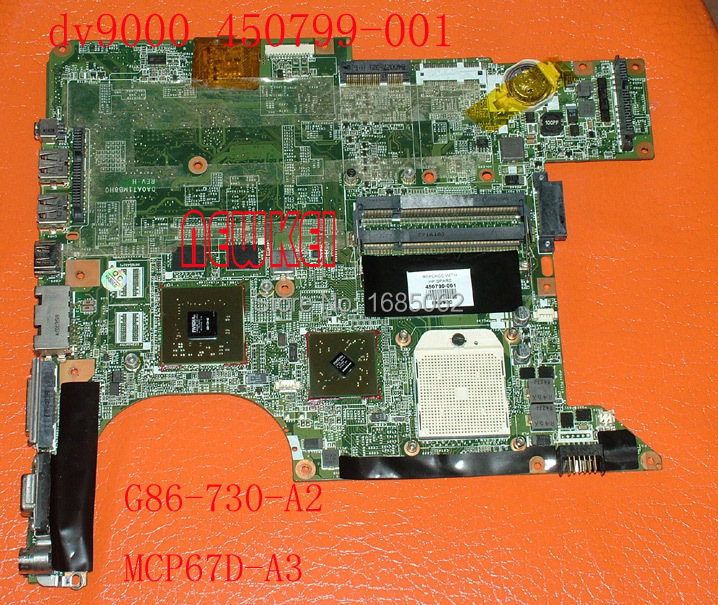 HOT! For HP DV9000 DV9500 laptop motherboard 450799-001 459566-001 DA0AT2MB8H0 REV:H G86-730-A2 100% Tested and good working(China (Mainland))