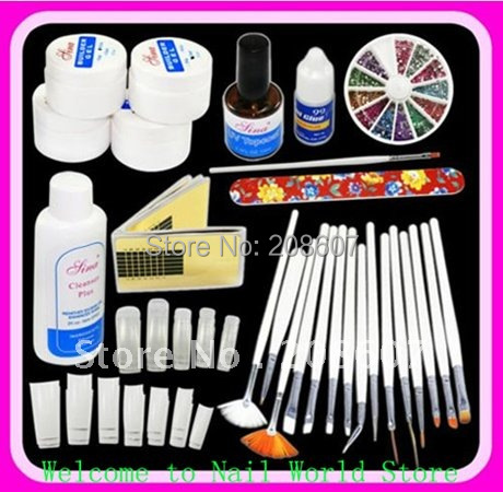 Freeshipping DIY Supplies Nail Art Professional UV GEL French NAIL KIT Acrylic SET & 15pcs Nail Art Pen /Brush Kit Manicure Tool