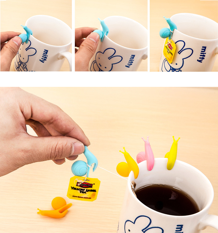 5 PCS Cute Snail Shape Silicone Tea Bag Holder Cup Mug Gift Set cup drink label tag Silicone markers for party GYH(China (Mainland))
