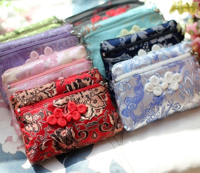 Gifts abroad chinese style small gifts unique practical gifts double zipper silk wallet