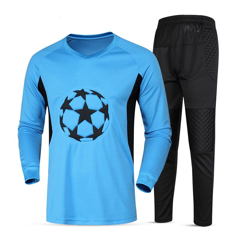 New Soccer Goalkeeper Jerseys Kit Sponge Protector Long Sleeve Suit Men Soccer Goal Keeper Jersey Uniforms Football Training Set(China (Mainland))