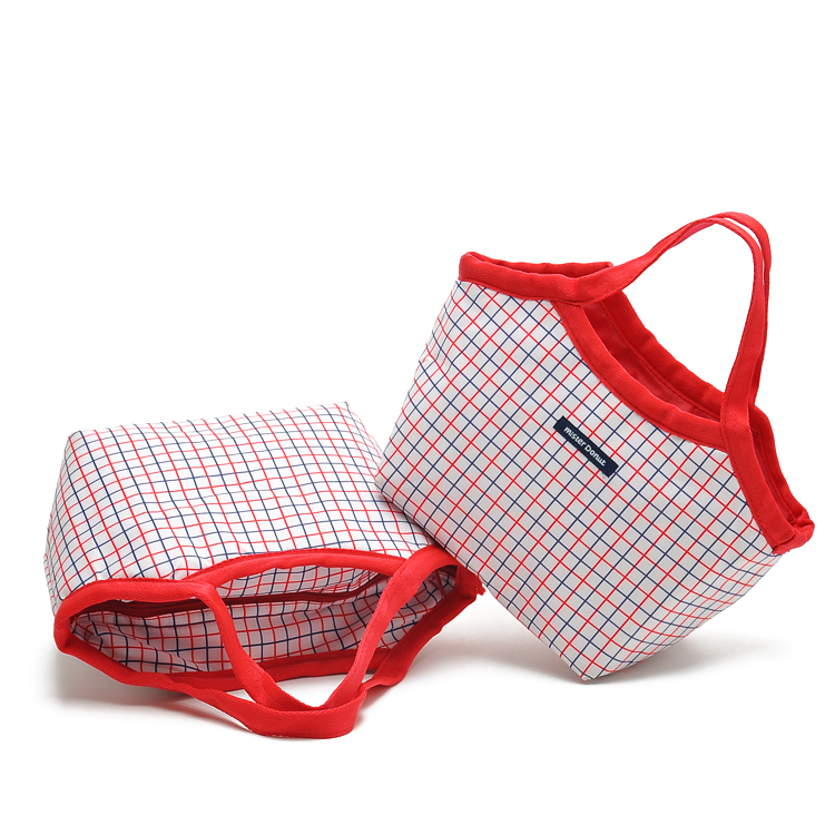 Red and blue small fine plaid waterproof thickening portable heat bag lunch bag ice pack Thermal(China (Mainland))