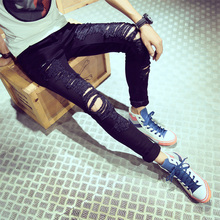 New Famous Brand Vintage Men designer Casual Hole Ripped Jeans Mens Fashion Skinny Denim Pants Slim Fit Male Trou(China (Mainland))