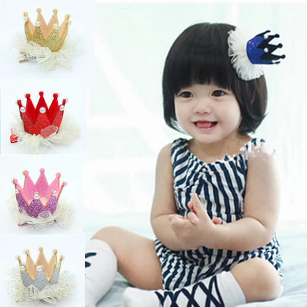 2PCS New & Hot Children Baby Girl's Hairpins Crown Lace Hair Clips Headwears Hair Acessories 5 Colors(China (Mainland))