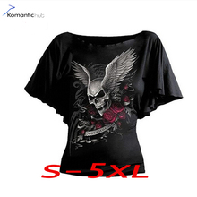 Buy Punk Rock T-Shirts Fashion Short Sleeve Women Casual T-Shirt Batwing Sleeve Skull Printing T-Shirt S-5XL Tee Shirt Women Clothes for $7.99 in AliExpress store