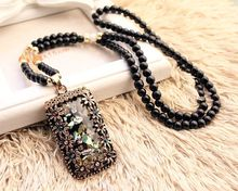 Buy 2016 New Arrival Women Pendant Necklaces Big Drop Long Sweater Chain All-match Decorative Crystal Necklace Cat's Eye Pendant for $3.50 in AliExpress store