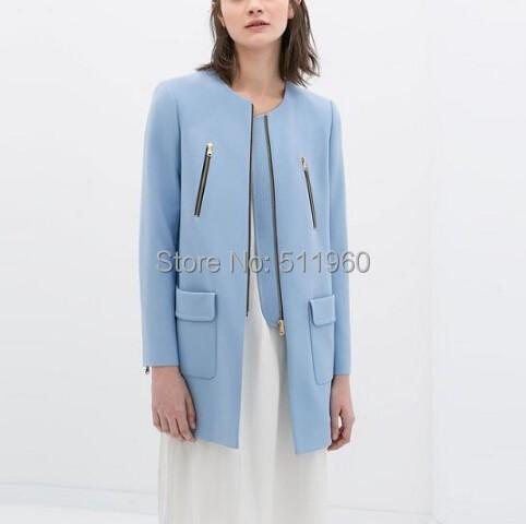 Fedex New arrived legant blue zipper pockets coats long sleeve outwear casual slim brand designer - angel-- baby store