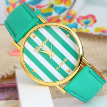 New Classic Geneva Stripes Print PU Leather girl Woman Analog Quartz Wrist Watch Dave student multicolor