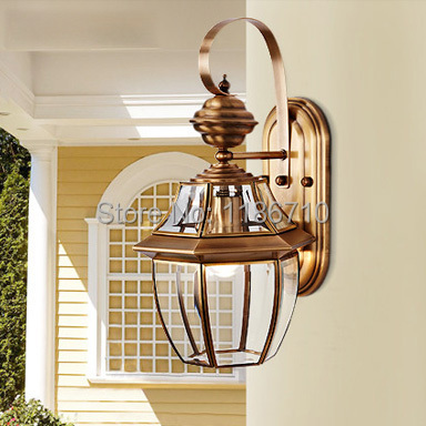 High End Outdoor Wall Sconces : High end european style pure copper wall lamp villa garden wall light With LED bulbs American ...