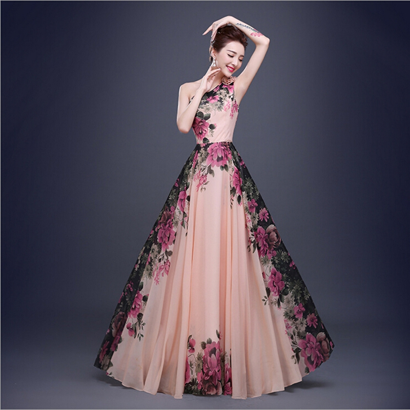 Beautiful long designs in stock one shoulder flower for Floral dresses for weddings
