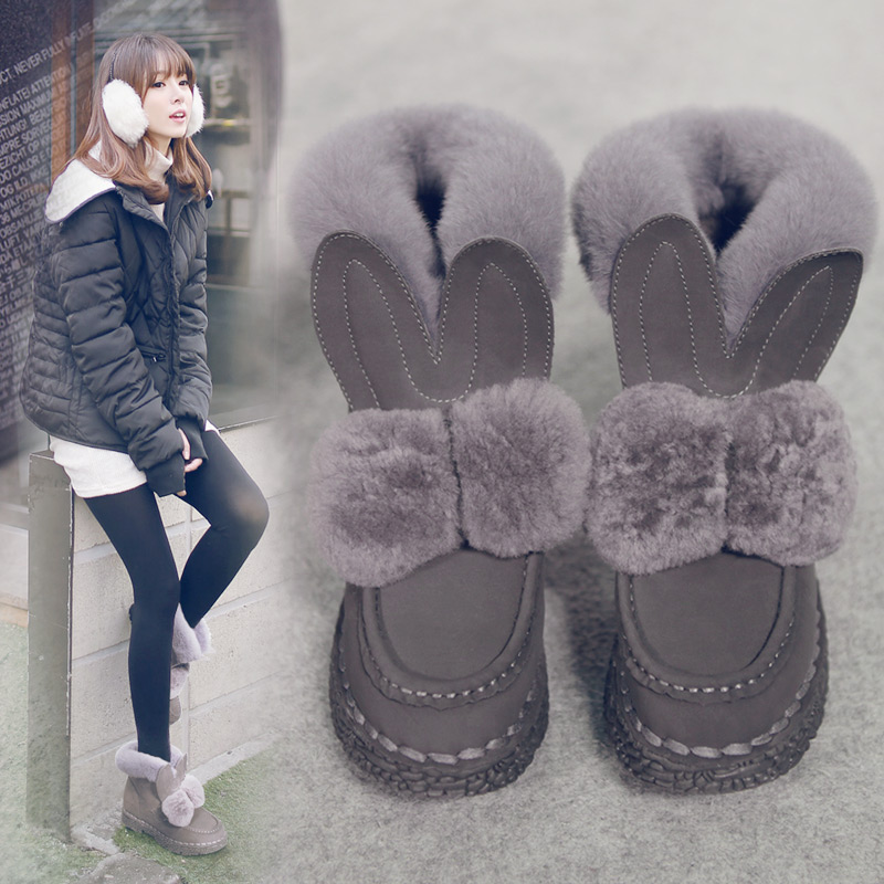 Фотография 2015 Fall Winter New Korean Women Boots Round Top Ankle Boots Flat Rex Wool Shoes Wool Plush Rabbit Ears Snow Boots Shoes Woman