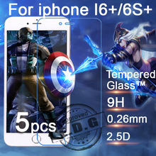 5pcs 0.26mm 9H Explosion Proof Anti scratch LCD Tempered Glass Film For Apple iphone 6 Plus 6S+ 6+ Screen Protector Film