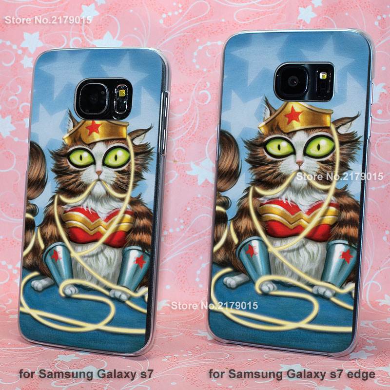 Cat Wonder Woman transparent clear hard Cover Case for Samsung Galaxy s3 s4 s5 mini s6 s7 edge(China (Mainland))
