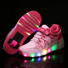 2016 Spring Women's Men's Heelys Roller Shoes Boy Girl automatic LED shoes for adults Men women Light shoes with wheel 27- 40(China (Mainland))