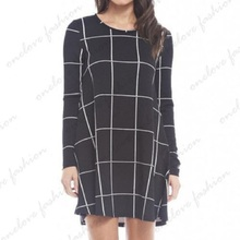 2016 Women Black Tartan Check Print Long Sleeve Casual Swing Ladies Skater Dress 8-22