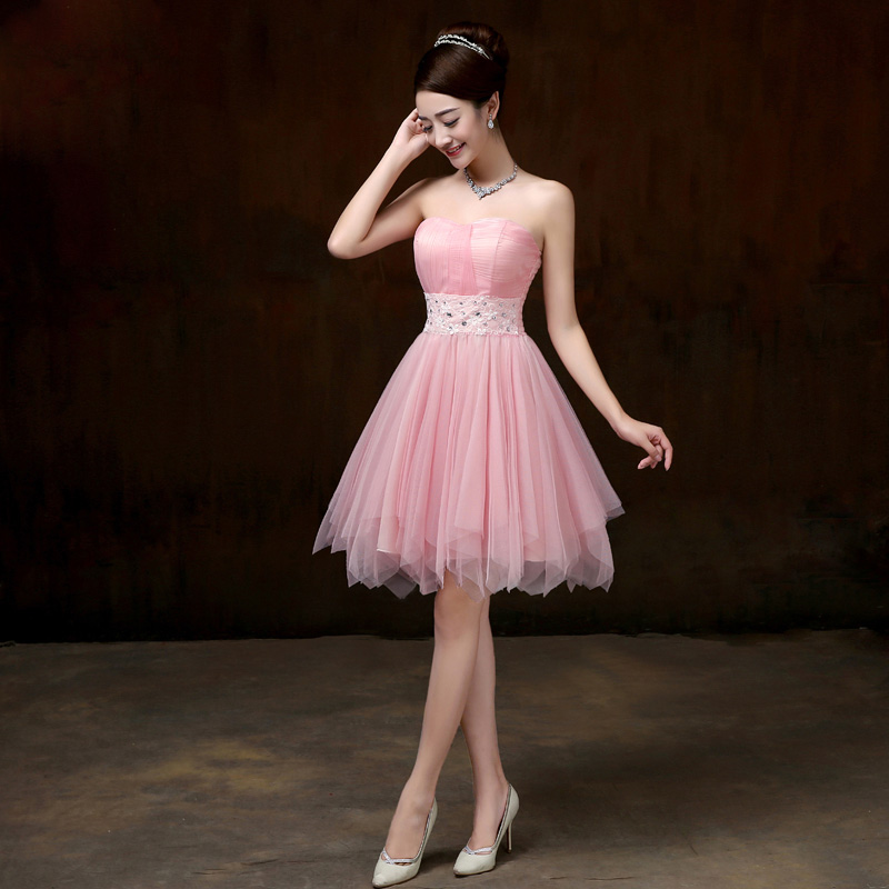 Drnfow Brand New 2016 Strapless Short Champagne Bridesmaid Dresses Sleeveless Chiffon Cheap Party Summer Dress Pink