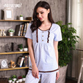 Summer Knitted Cotton Pajamas Round Neck Women Pajama Sets Polka Dot Lounge Pyjamas Short Sleeve Nightwear