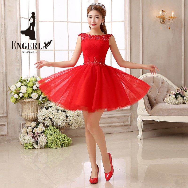 ENGERLA High Quality Red Wedding Dresses Lace Up Back Short Wedding Gown Hot Summer Crystal Dresses Tulle Ball Gown 2016(China (Mainland))