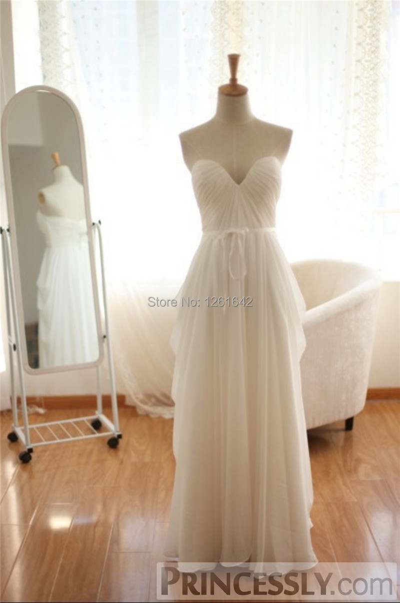 2014 simple sweetheart sash a line style chiffon floor for A line style wedding dresses