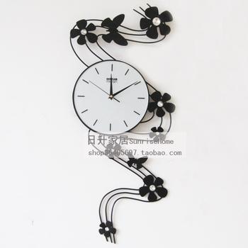 Drow papillon fleurs en fer forg horloge murale salon for Horloge murale fer forge