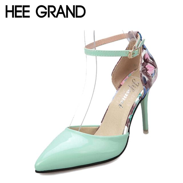 2016 весна высокие каблуки цветочные печатный лодыжки ремень тонкие каблуки женщина ...