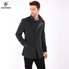 Russian Style High Quality Autumn And Winter Men Fashion Warm Gray 80%Wool Cashmere Coat Jacket Free Shipping(China (Mainland))