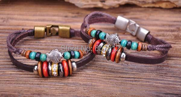 G67 2pc Handmade Vintage Surfer Leather Wood Stone Beads Wristband Bracelet Cuff Cute Fish(China (Mainland))