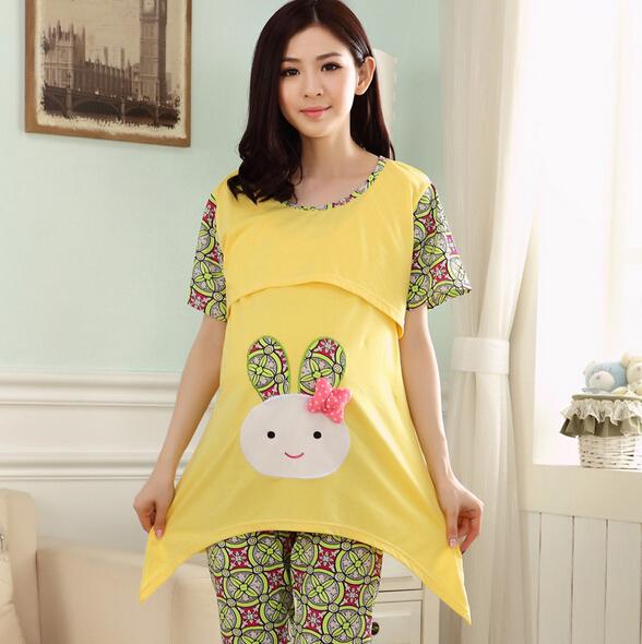 Hot sale cartoon maternity pajamas set plus size pregnant sleepwear breastfeeding nightwear free shipping