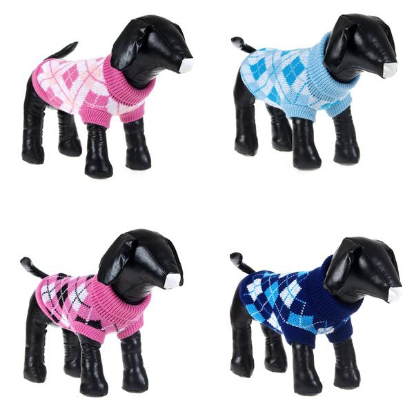 New Hot Pet Dogs Cat Lattice Knitwear Sweater Small Dog Warm Coat Clothes(China (Mainland))