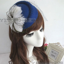 New Fashion Decorative Feather Satin Fascinator Hair Clip Cocktail Hat foe Wedding Party Decoration Accessory Flower Cap