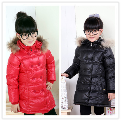 Free shipping 2013 children down jacket for girls high quality medium-long down coat thick winter jacket coat girl fur jacket<br><br>Aliexpress