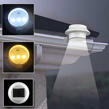ASLT Free Shipping New Arrival Outdoor Solar Power 3 Led Light Garden Fence Yard Wall Gutter Pathway Lamp(China (Mainland))