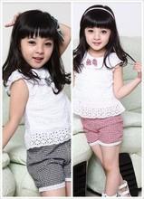 Summer Style Lace T Shirt And Lattice shorts Pants Children Clothing Set Girl Clothes Set