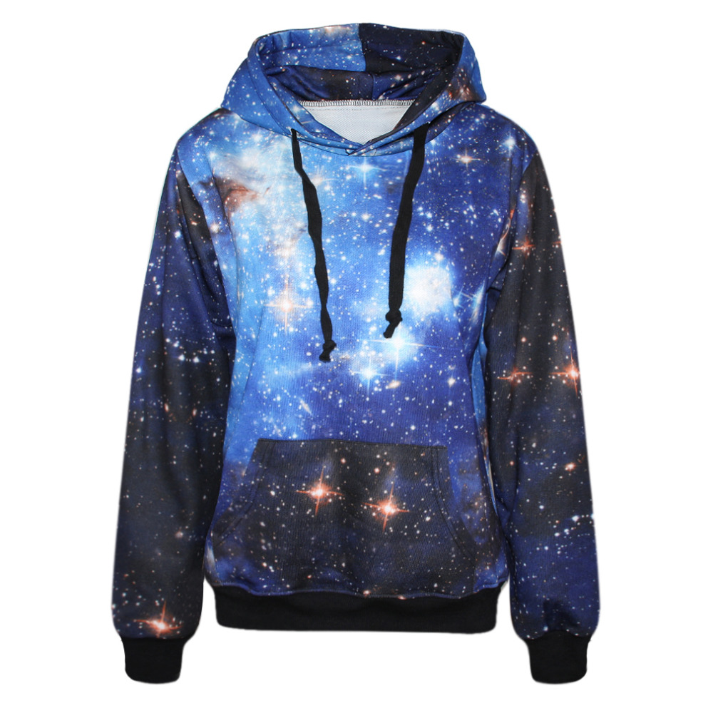 Hot Sale Women Hoodies Autumn Spring Sweatshirt Pullover Plus Size xl Galaxy 3D Printed Blue Hoodie Sudaderas Mujer 2016(China (Mainland))