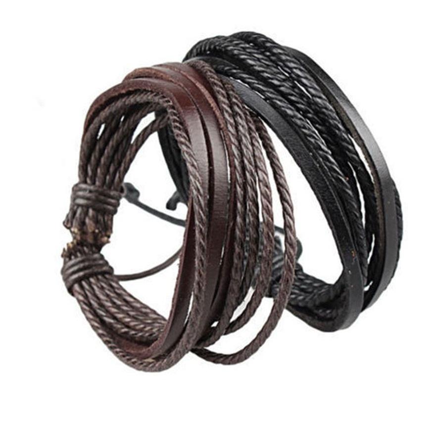 Women Jewelry Men PU Leather Bracelets Cuff Bangles Link Chain Charm Casual Fashion Accessories(China (Mainland))