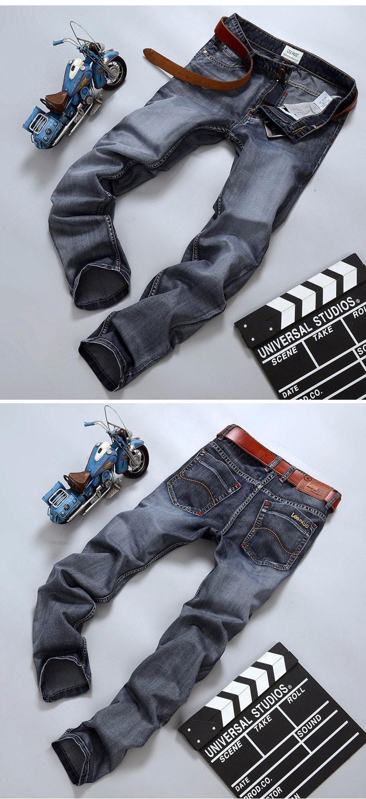 Retro-style gray denim brand jeans Slim Straight jeans mature men choose advanced fabric softening