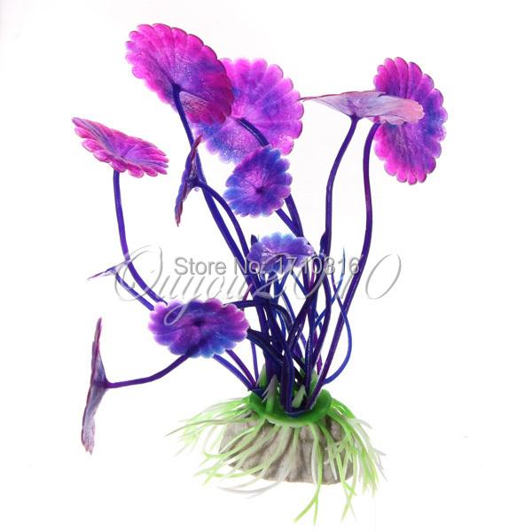 2015 NEW Purple Artificial Vivid Plastic Aquarium Decorations Plants Fish Tank Grass Flower Ornament Aquatic Animals Accessories(China (Mainland))