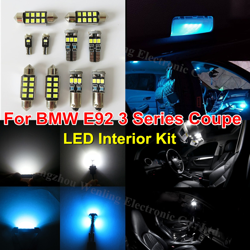 buy 18x ice blue pure white lighting car led interior light kit for bmw e92. Black Bedroom Furniture Sets. Home Design Ideas