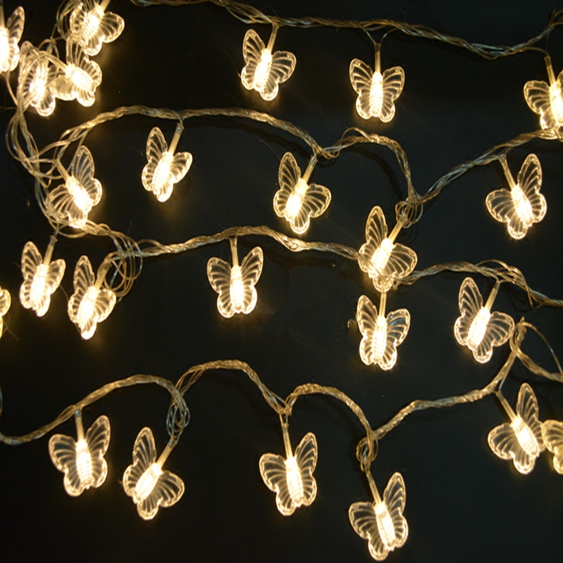 Indoor Butterfly String Lights : 10M 38 LEDs butterfly led string lights AC110V/220V outdoor&indoor Christmas Lights Holiday ...