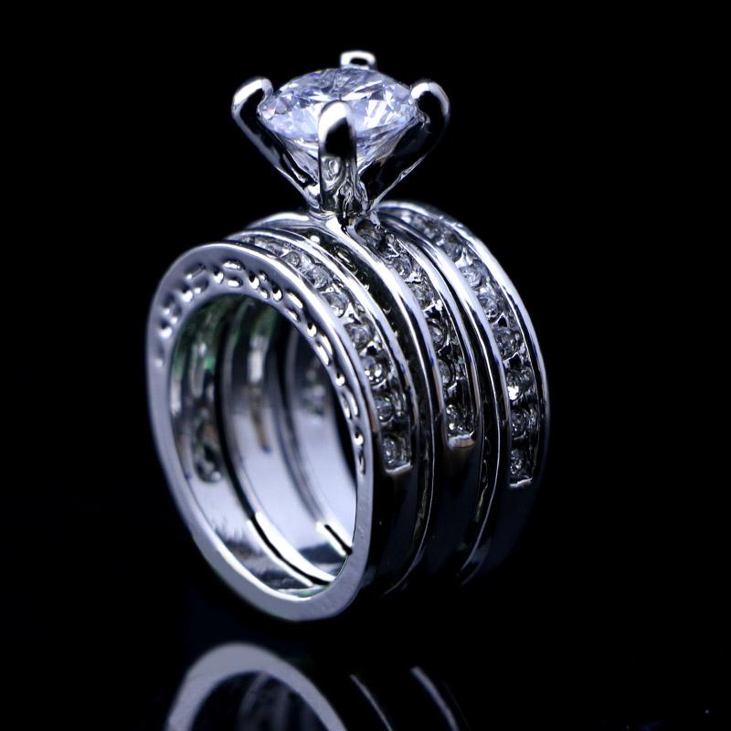 3Fashion 3 1 Austria Crystal Cubic Zirconia Rhinestones 18k White Gold Engagement Wedding Women Rings Bridal Ring A-627 - Edna Jewelry store