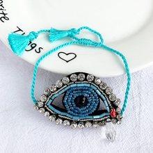 מתכוונן לב עין רעה צמיד מיוקי צמיד Pulseras Mujer בציר בעבודת יד גביש ציצית תכשיטי צמידים לנשים(China)